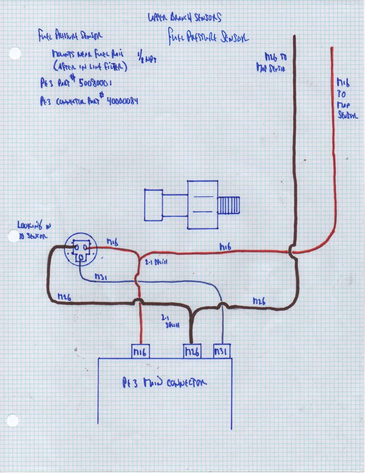 fuel pressure sensor placement and wiring \u2013 junk yard zetec Fuel Tank Wiring Diagram fuel pressure sensor wiring diagram left pin is the m26 ground middle (and lower) pin is for m31 signal power once again comes in from m16